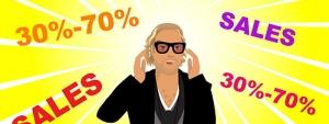 Als Cartoon voor ShopVip omring door kortingen!